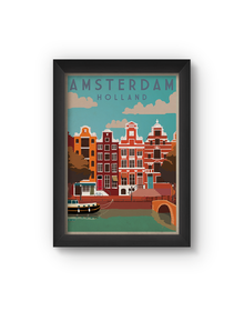 Amsterdam Vintage Poster (Wood, A4)