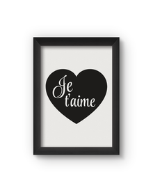 Je T'aime Poster (Wood, A4)