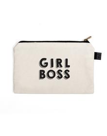 Girl Boss Multi Purpose Pouch (Cotton Canvas, 21x15cm, White)