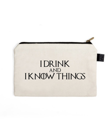 I Know Things Pouch (Cotton Canvas, 21x15cm, White)
