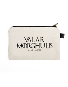 Valar Morghulis Pouch (Cotton Canvas, 21x15cm, White)