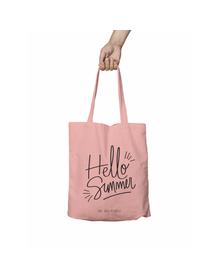 Hello Summer Pink Tote Bag (Cotton Canvas, 39 x 37 cm)