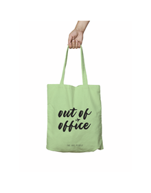 Out Of Office Green Tote Bag (Cotton Canvas, 39 x 37 cm)