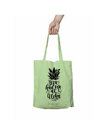 You Had Me at Aloha Green Tote Bag (Cotton Canvas, 39 x 37 cm)