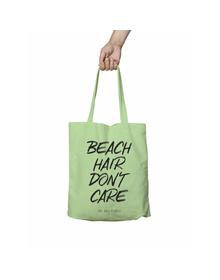 Beach Hair Don't Care Green Tote Bag (Cotton Canvas, 39 x 37 cm)