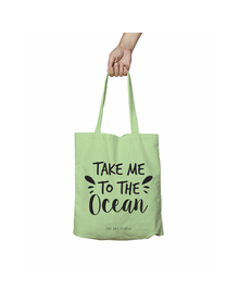 Take Me To The Ocean Green Tote Bag (Cotton Canvas, 39 x 37 cm)