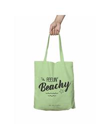 Feelin Beachy Green Tote Bag (Cotton Canvas, 39 x 37 cm)