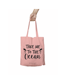 Take Me To The Ocean Pink Tote Bag (Cotton Canvas, 39 x 37 cm)