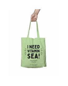 I Need Vitamin SEA Green Tote Bag (Cotton Canvas, 39 x 37 cm)