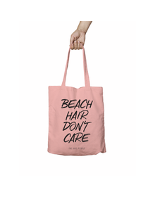 Beach Hair Don't Care Pink Tote Bag (Cotton Canvas, 39 x 37 cm)