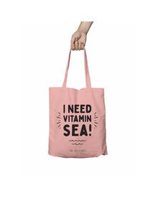 I Need Vitamin SEA Pink Tote Bag (Cotton Canvas, 39 x 37 cm)