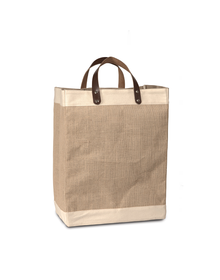 Burlap Bag with Leather handle - Large (Size - 18 x 12 x 8 Inches)