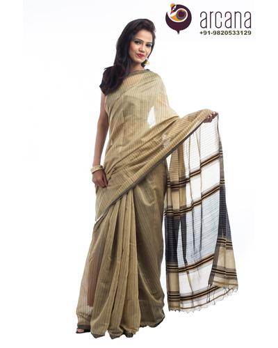 Light Brown Cotton Saree-Light Brown-Cotton-Formal / Casual Wear-1