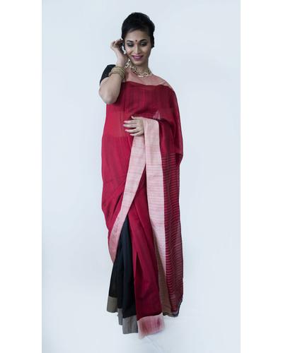 Black and Red Half & Half Saree-201925