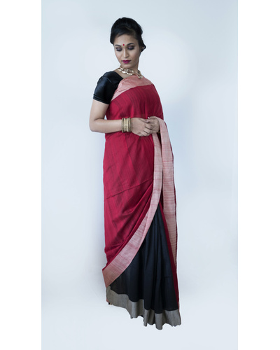 Black and Red Half & Half Saree-Black and Red-Cotton-Casual / Formal Wear-1