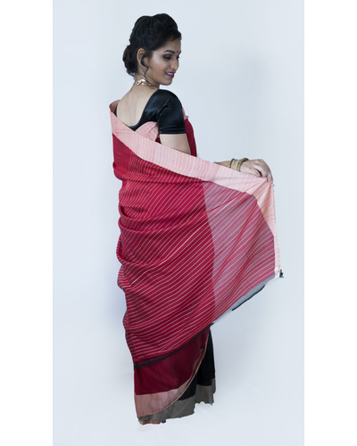 Black and Red Half & Half Saree-Black and Red-Cotton-Casual / Formal Wear-2