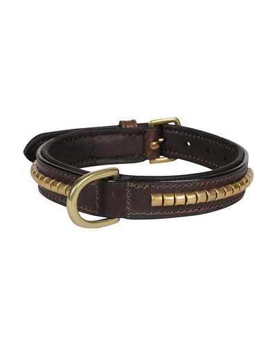 Leather Dog Collar Brown with Gold Conchore Decoration-AMA-DC04-S
