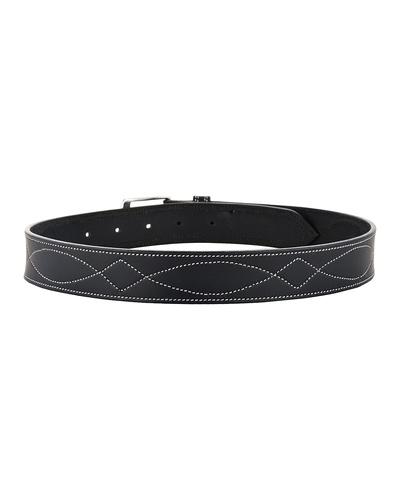 "Leather Belt Black with White Leaf Show Stitch-30""-2"