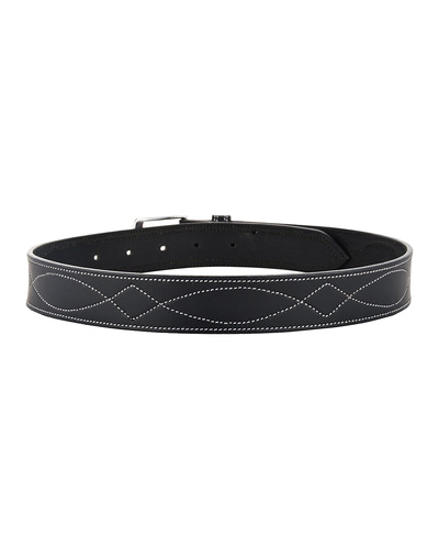 "Leather Belt Black with White Leaf Show Stitch-34""-2"