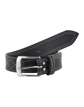 Leather Belt Black with White Leaf Show Stitch