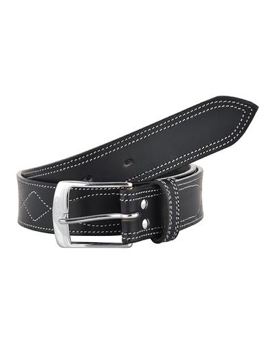 Leather Belt Black with White Leaf Show Stitch-AMA-B515-BLACK-36