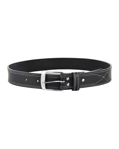 "Leather Belt Black with White Leaf Show Stitch-38""-1"