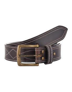 Leather Belt Brown with White Leaf Show Stitch