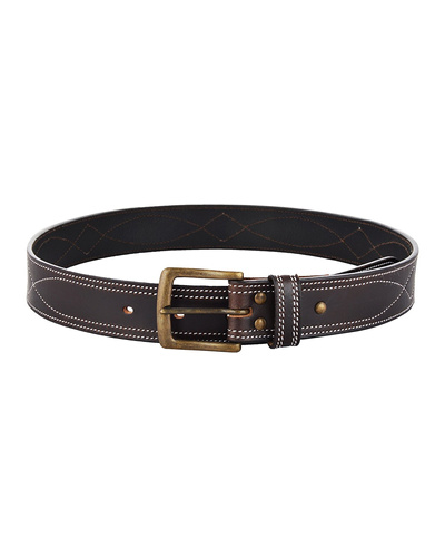 """Leather Belt Brown with White Leaf Show Stitch-34""""-1"""