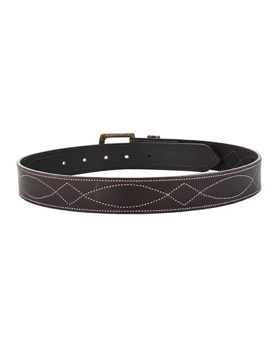 """Leather Belt Brown with White Leaf Show Stitch-38""""-2"""