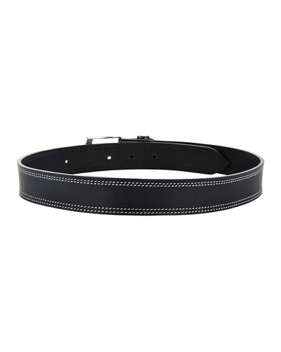 "Leather Belt Black with 2 Line White Show Stitch-32""-2"