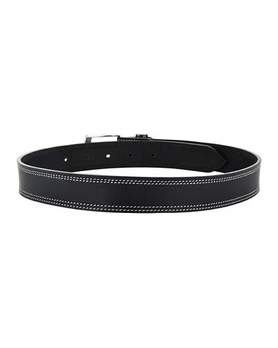 "Leather Belt Black with 2 Line White Show Stitch-38""-2"