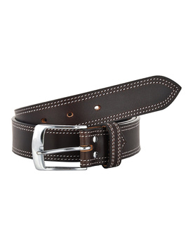 Leather Belt Brown with 2 Line White Show Stitch