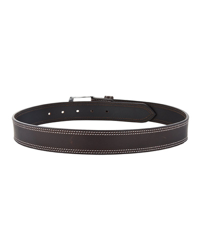 """Leather Belt Brown with 2 Line White Show Stitch-34""""-2"""