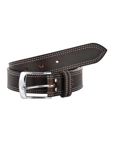 Leather Belt Brown with 2 Line White Show Stitch-AMA-B517-BROWN-36