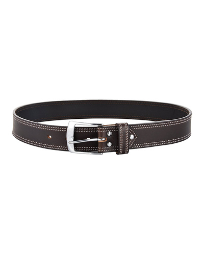 """Leather Belt Brown with 2 Line White Show Stitch-38""""-1"""