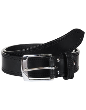 Leather Belt Black with 2 Line Tone in Tone Show Stitch