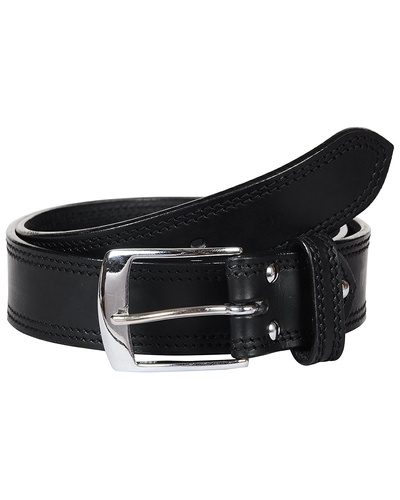 Leather Belt Black with 2 Line Tone in Tone Show Stitch-AMA-B5151-BLACK-36