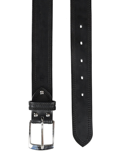 """Leather Belt Black with 2 Line Tone in Tone Show Stitch-38""""-1"""