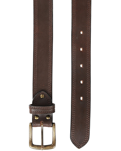 """Leather Belt Brown with 2 Line Tone in Tone Show Stitch-38""""-1"""