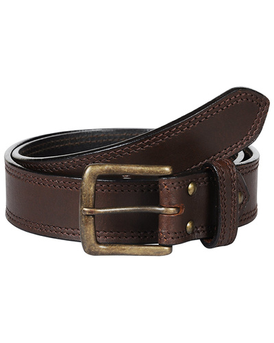 Leather Belt Brown with 2 Line Tone in Tone Show Stitch-AMA-B5151-BROWN-42