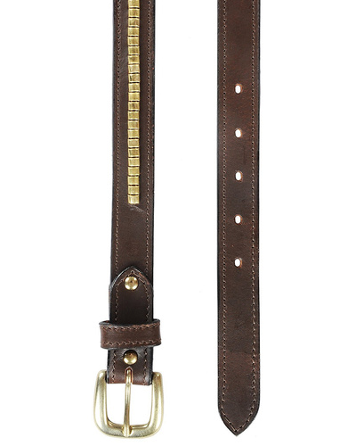 """Leather Belt Brown with Golden Conchores Decoration-30""""-1"""