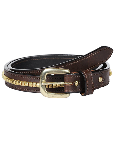 Leather Belt Brown with Golden Conchores Decoration-AMA-B15.23G-32
