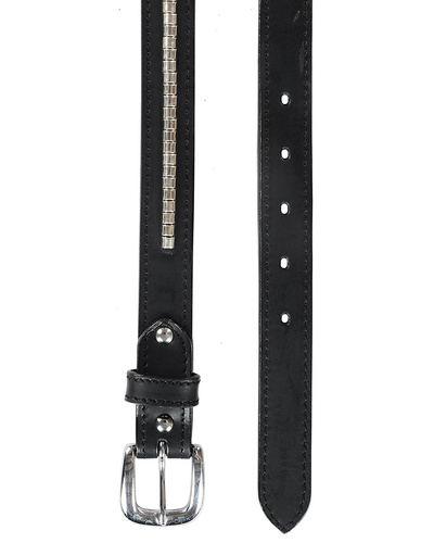"""Leather Belt Black with Silver Conchores Decoration-30""""-1"""