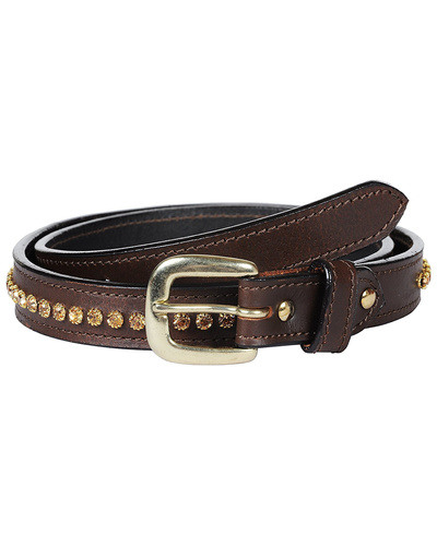 Leather Belt Brown with Light Colorado Topaz Stones Decoration-AMA-B16.23G-32