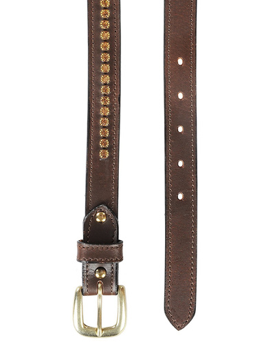"""Leather Belt Brown with Light Colorado Topaz Stones Decoration-34""""-1"""