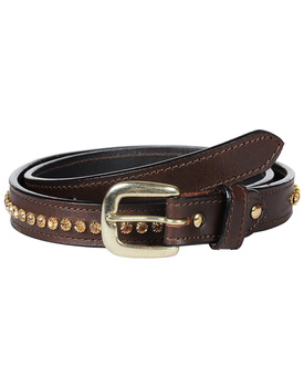 Leather Belt Brown with Light Colorado Topaz Stones Decoration
