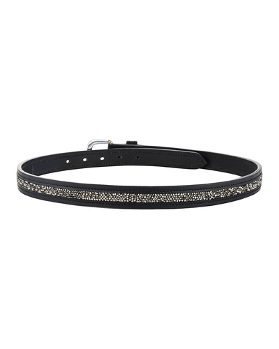 "Leather Belt Black with Metallic color rock Stones Decoration-30""-2"