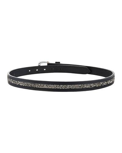 "Leather Belt Black with Metallic color rock Stones Decoration-32""-2"