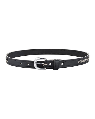 "Leather Belt Black with Metallic color rock Stones Decoration-36""-1"