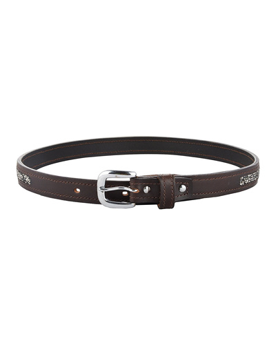 """Leather Belt Brown with Metallic color rock Stones Decoration-32""""-1"""